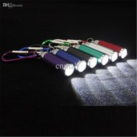 Wholesale Emergency Led Torch - Mini LED Flash Light Emergency Torch Keychain Flashlight 6 Color Mini Flashlight LED Keychain Torch Zoom Light Hand Lamps Flashlights