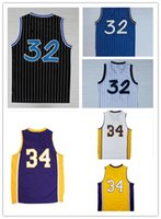 Wholesale Number 32 - Summer Popular Orlando 32# Throwback Jerseys LA 34# Basketball Jerseys Stitched Number and Name
