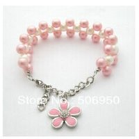 Wholesale Wholesale Handmade Dog Collars - wholesales!specialized handmade imitate pearl necklace for dogs cat pet collar flower pendant pink and blue color is available,10pcs lot