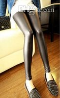 Wholesale Sexy Girls Tight Wear - Women Jegging Tight Pants Faux Leather Leggings Stretchy Soft Comfortable Trousers Sexy Girls PU Best Tight Leg wear Shiny Tights 2pcs lot
