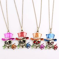 Wholesale Halloween Magician Hat - 2018 Halloween Necklaces Skull Hat Christmas Gift Party Pendant Necklace Femal Magician Roses Jewelry Accessories Wholesale