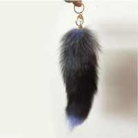 Wholesale Large Fox Tail - 2016 Lovely 38-42cm Women Facny Fox Fur Tail Tassel Bag Tag Charm Handbag Pendant Accessory Large Keychain Free Shipping