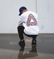 Wholesale Round Collar Sweatshirts - 2017SS PALACE TRI-CRIB CREW COLORED TRIANGLE LOGO Round Collar Skateboards Hoodies Men Women Hip Hop Sweatshirt White Hombre