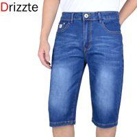 Wholesale Men Short Jeans 32 - Wholesale-Drizzte Mens Summer Stretch Lightweight Blue Denim Jeans Short for Men Jean Shorts Pants Plus Size 32 33 34 35 36 38 40 42 44 46
