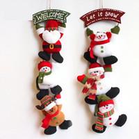 Wholesale Santa Signs - Length Santa Claus Snow Man Pendant Christmas Ornaments Welcome Sign Door Hanging Decor Showcase Shop Home Xmas Decor Gifts