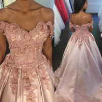 Wholesale Flower Girl Dresses For Quinceanera - Blush pink 3D-Floral Appliques A line Quinceanera Dresses Sweet 16 Off Shoulder princess Lace Up back 2018 evening Party Pageant For Girls
