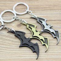 Wholesale Black Bat Pendant - New Arrival Super Hero Superhero Marvel Batman Bat Metal Keychain Pendant Key Chain Chaveiro Key Ring Gift