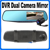 Wholesale Dual Cmos Sensor - CAR DVR 4.3 HD 1080P Car DVR Mirror Dual Camera GPS Rear view Blue Mirror CMOS Lens Recorder PIP Display+Night Vision