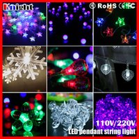 Wholesale Pink Snowflake Ornament - 10m 100led ornament string lamp,frosted bulb ball cherry rose heart star waterdrop snowflake holiday decor icicle pendant lights 2sets a lot