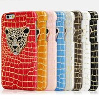 Wholesale Leopard Diamond Case Iphone - Luxury Fashion Diamond Crystal Leopard Crocodile PU Leather Case Cover For iphone 6 6S Plus