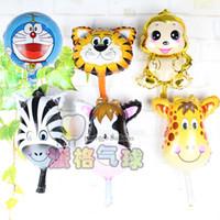 Wholesale Cartoon Deer Birthday Party - Wholesale-Mini Tiger&zebra&deer&cow&cute monkey Animals Head Helium Foil Balloons Animal Air Ballons theme birthday party