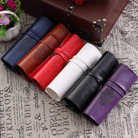 Atacado - Susan 'Retro Unisex Vintage Rolling Up Leather Pen Pencil Case Pouch Purse Bag Maquiagem Cosmetic Brushes Holder Box para Mulheres Homens
