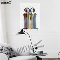 Wholesale dogs canvas oil paintings resale online - 100 Handmade Cute Spotted Dog Oil Painting on Canvas Modern Cartoon Animal Lovely Pet Paintings For Room Bedroom Wall Decor