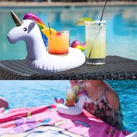 2017 Unicorn Bebida Inflável Cup Holder Branco Beverage Holders Floating Glass Inflável Piscina Festa Toy Supplies Beach Phone Stand
