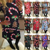 Wholesale Women Santa S Clothes - 2016 hot Christmas holiday clothing clothing adult Santa Claus cartoon printed skirt dress
