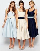 Wholesale Taffeta Belted Dress - Tea-Length Taffeta Bridesmaid Dresses 2016 Square Neck Spaghetti A Line With Belt Maid of Honor Gowns Fashion Wedding Party Dresses Custom