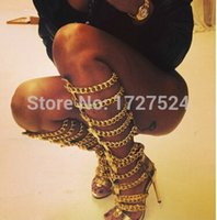 Wholesale Cheap Open Toed Heels - New Fashion Cheap Sale Women Golden Chain Sexy Open Toe High Heel Hollow Shoes Summer Lady Knee High Boots Gladiator Sandals