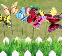 Wholesale Colorful Home Decor Wholesale - Colorful 3D Butterfly Garden Ornament Flowerpot Decor Butterfly Home Room Decor Wall Sticker for Kids Free Shipping