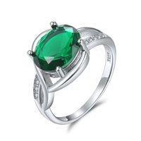 Wholesale Emerald Crystal Rings - Luxurious Pigeon Egg Emerald Crystal Exaggerated Large Index Finger Ring Female Plating 18k Gold Couple Gifts