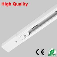 ingrosso kit di luce a filo-DHL 1M LED Light Track Rail Bar Alluminio Universale Spot Rail Lamp T Sistema di illuminazione a binario Kit Rails 1 Phase Circuit 2 Wire White Black