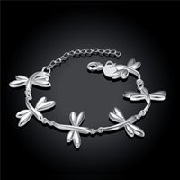 Wholesale asian dragonfly - Hot sale christmas gift 925 silver Dragonfly Bracelet DFMCH411, Brand new fashion 925 sterling silver Chain link bracelets high grade