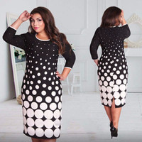 Wholesale Sexy Polka Dot Dress - Wholesale-2016 Big Size Dress Women Clothing Summer Style Fashion Office Party Dresses Sexy O-Neck Plus Size Vestidos Femininos 6xl 5xl