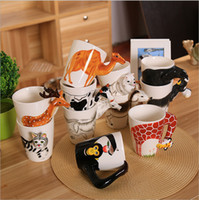 Wholesale Making Mugs - Popular 3D Ceramics Cups Universal High Temperature Resistant Tumbler Hand Made Cartoon Animals Shape Mugs High Quality 18tt B