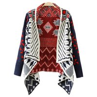 Wholesale Western Cardigan Sweaters - Wholesale- 2017 autumn winter sweater women new western hit color cardigan jacket irregular plaid shawl knit sweaters coat vestidos MMY386
