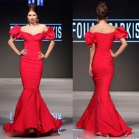 Wholesale Mnm Dresses - Sexy Red Mermaid Evening Dresses Off Shoulder Sleeveless Mnm Couture Prom Dress Floor Length Evening Gowns With Ruffle