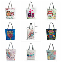 Wholesale Owl Print Handbags - Floral Owl Printed Canvas Tote Casual Beach Bags Large Capacity Women Single Shopping Bag Daily Use Canvas Handbags OOA2759