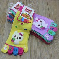 Wholesale Little Girl Kitty - Rabbit Hello Kitty Little Kids Five Fingers Baby Socks for Girls Boys 2017 Kids Toe Socks Children 5 Toes Socks 3 Pairs  set