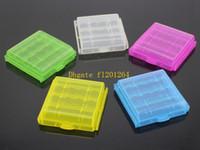 carcasa de batería aa al por mayor-100 unids / lote envío gratis titular de la cubierta de la caja de plástico duro para AA AAA 14500 10440 batería caja de almacenamiento de la botella