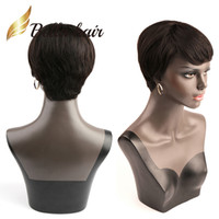 Wholesale 8inch straight human hair - 6inch 8inch Short Bob Silky Straight Hair Wigs with bangs Natural Black Human Hair Wigs Full Lace Wig Front Lace Wig Bella Hair