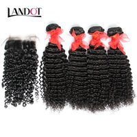 Wholesale Cambodian Mixed - 5 Bundles Lot Brazilian Curly Virgin Human Hair Weave With Lace Closures Malaysian Peruvian Indian Mongolian Kinky Curly Virgin Hair Closure