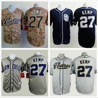 Wholesale Stitching Designs Shirts - Camisa 2015 San Diego Padres 27 Matt Kemp Men Baseball Jersey New Design free Shipping Camo Stitched Shirt Camisas Promotion