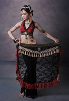 Wholesale Belly Dancing Bra Scarf - Tribal Belly Dance Costume 2 Pics Lace Bra Blouse&Hip Scarf Belt Skirt 2 Colors