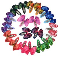 Wholesale Hair Clips Butterflies - 20pcs 2inch Butterfly Hair Ribbon Bows with Clip Bows Baby Girls Bobby Hairpins Children Hair Accessories Free Shipping