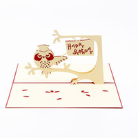 Wholesale free happy birthday card resale online - Owl D Pop UP Gift Greeting Blessing Cards Handmade paper Creative Happy Birthday Cards christmas