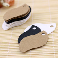 Wholesale Clothes Cards Price Tags - 5*3 Kraft Paper Clothes Price Hang Tags Wedding Party DIY Cards Xmas Gift Wrap Label Bookmark Blank Hand Luggage Tag