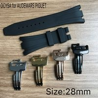 Wholesale charms pins - 28MM OCYSA Luxury Band Watch Straps Watches High Quality Rubber With Silver Stainless Steel Pin Buckle Fit For AP Watch. Wristwatch