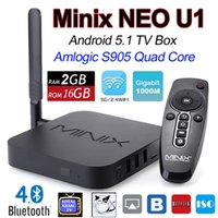 MINIX NEO U1 Android 5.1.1 TV CAJA Amlogic S905 Cuádruple núcleo 2G / 16G 2160P 4K 5G WiFi 3G H.265 Bluetooth Airplay + A2 Lite Air Mouse