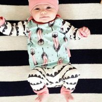Wholesale Comfortable Baby Girl Clothes - Ins Baby girl clothing sets Outfits With hat Feather Printed Cotton Comfortable Infants clothing 3pcs set 2017 Autumn 3months-2T