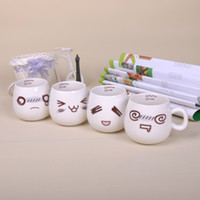 Wholesale Emotion Fashion - Paul Ceramic 320ml 1 Pcs Emotion Cut Coffee Mug Creative Water Cup Cartoon Milk Cup Fashion Drinkware Mugs with Spoon, M013A
