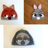 Wholesale Crochet Animal Hats For Sale - Prettybaby 2016 hot sale 3 designs Zootopia animal lovely cartoon Rabbit judy and fox nick sloth knitted caps for free shipping 50pcs lot