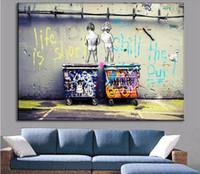 lienzo pinturas al óleo venta al por mayor-La venta caliente Banksy Art Life es corto Chill The Duck Out pinturas al óleo de lienzo de arte moderno barato