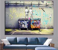 venda de pinturas a óleo venda por atacado-Venda quente Banksy Art Life É Frio Curto O Pato Para Fora barato lona moderna obras de arte pinturas a óleo da lona