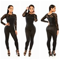 Wholesale Cute Women Jumpsuits - 2017 New Fashion Casual Onesies Black Lace Bodycon Jumpsuit MKY-YH8133 Sexy Women Elegant Rompers Cute Overall Size S M L