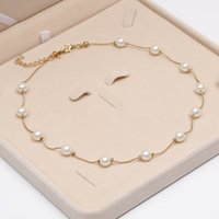 Wholesale Wholesale Statement Jewelry - Wholesale- 2017 Simulated Pearl Necklace Top Quality Anti-Allergy Wholesale Gold Color Statement Necklace Chain Wholesale Pearl Jewelry