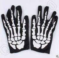 Wholesale Skeleton Table - Hallowen Performance Dancing Skeleton Gloves Devil Skull Gloves Punk Pure Black Sex Finger Against Uv Short Dancing Gloves CCA5083 300pair