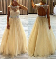 Wholesale Tiered Lace Fabric - Backless 2016 Prom Dresses Crystal Beading Formal Backless CHampagne Party Gowns With Jewel Neck Sleeveless Floor Length Tulle Fabric